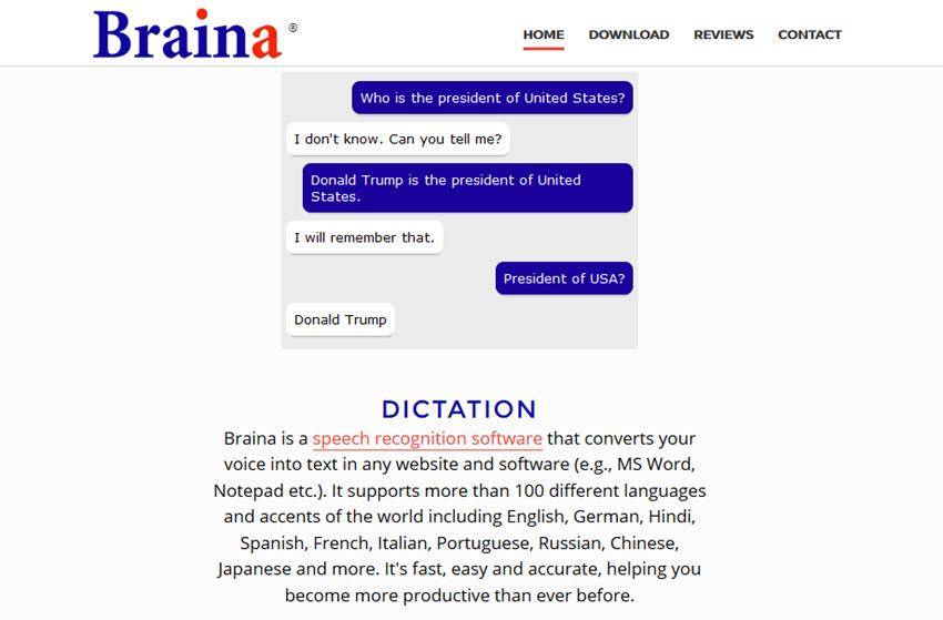 Braina speech recognition software
