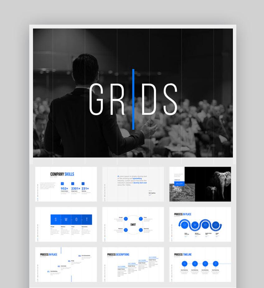 Grids Process Flow PPT Template