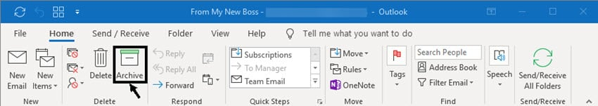 archive option in ribbon