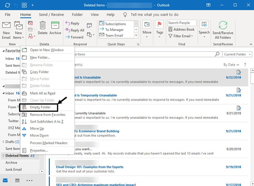 how to permanently delete emails in Outlook