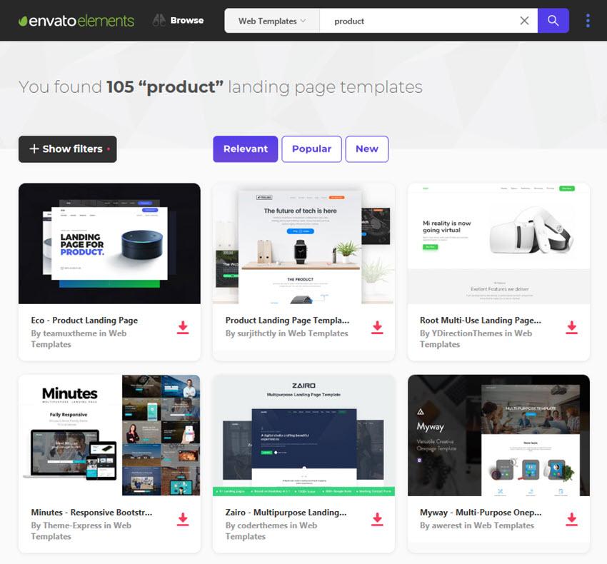 product landing pages Envato Elements