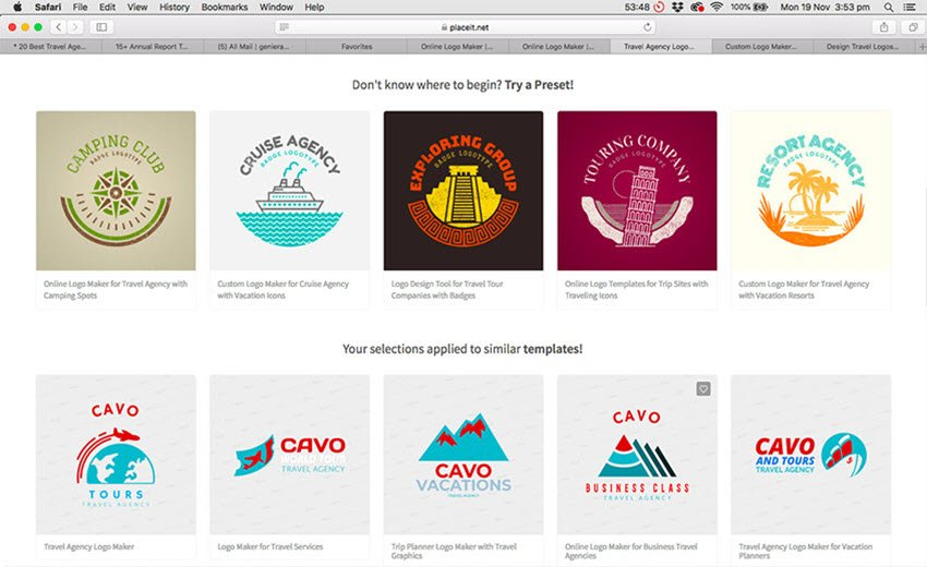 Travel Logo Presets and Templates