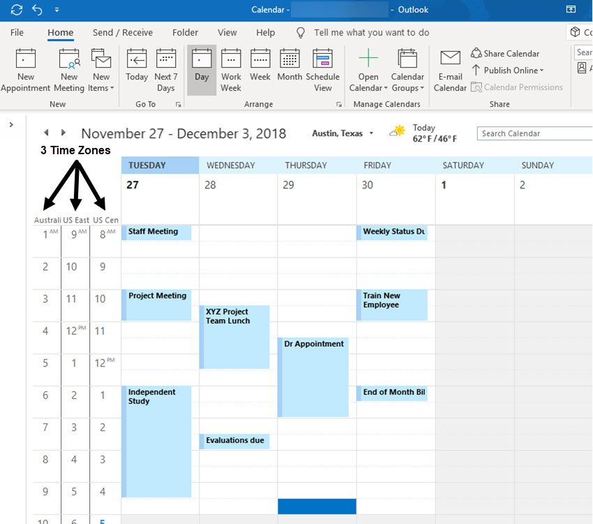 Outlook calendar with three time zones