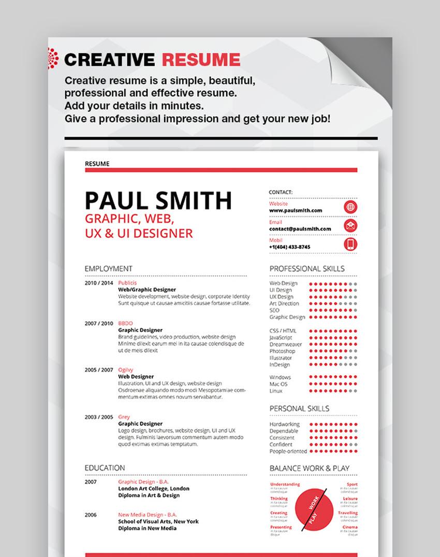 Beautiful Creative Resume - Cool Visual Resume Template