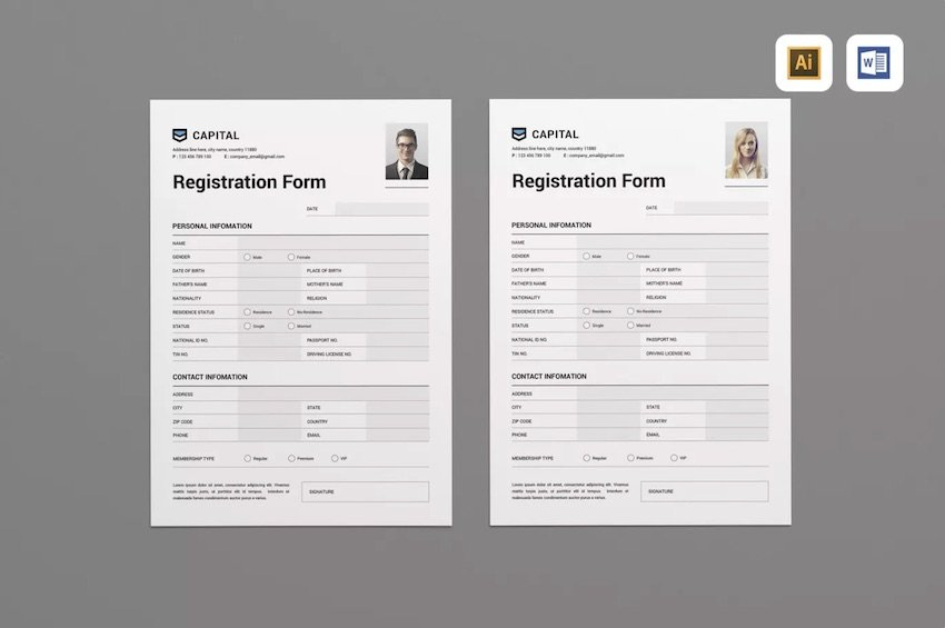 Registration form template for Microsoft Word