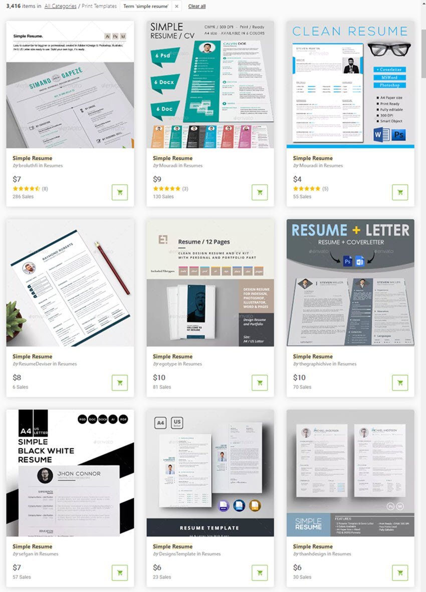 Simple resume templates on GraphicRiver
