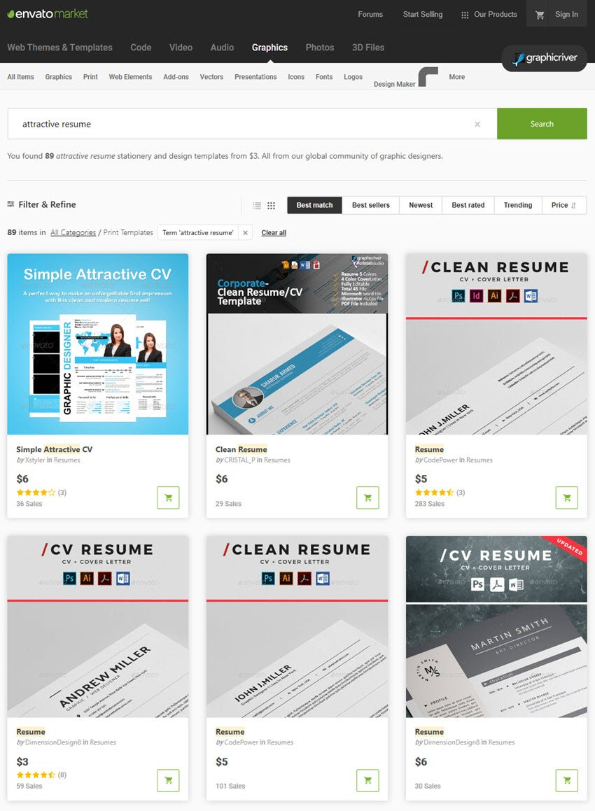 GraphicRiver eye catching resume templates