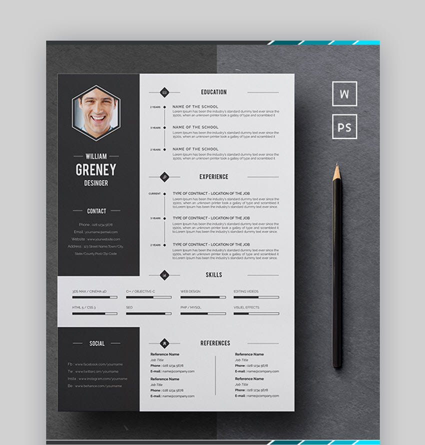 Word Resume Colorful Resume Template for MS Word