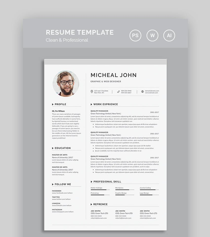 Word Resume Clean and Professional Template
