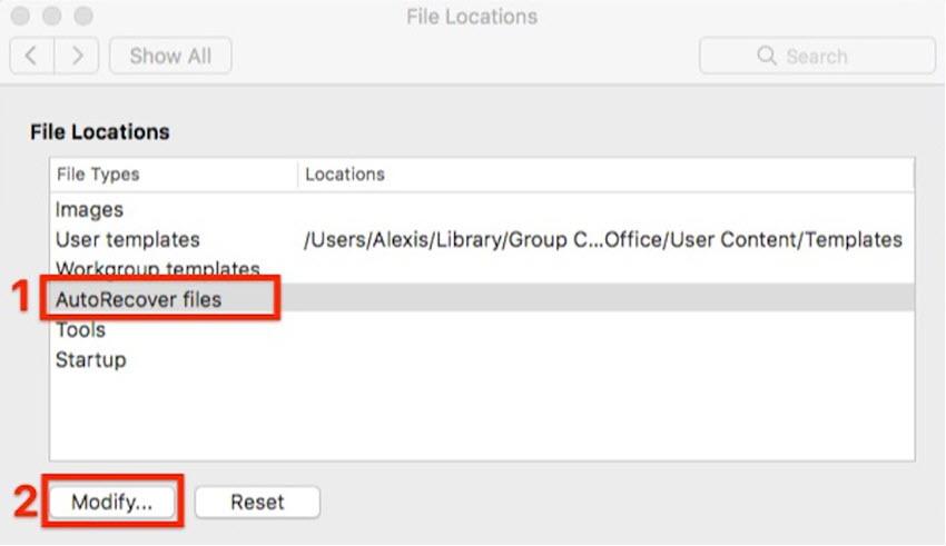 Modify AutoRecover Files Location in Word