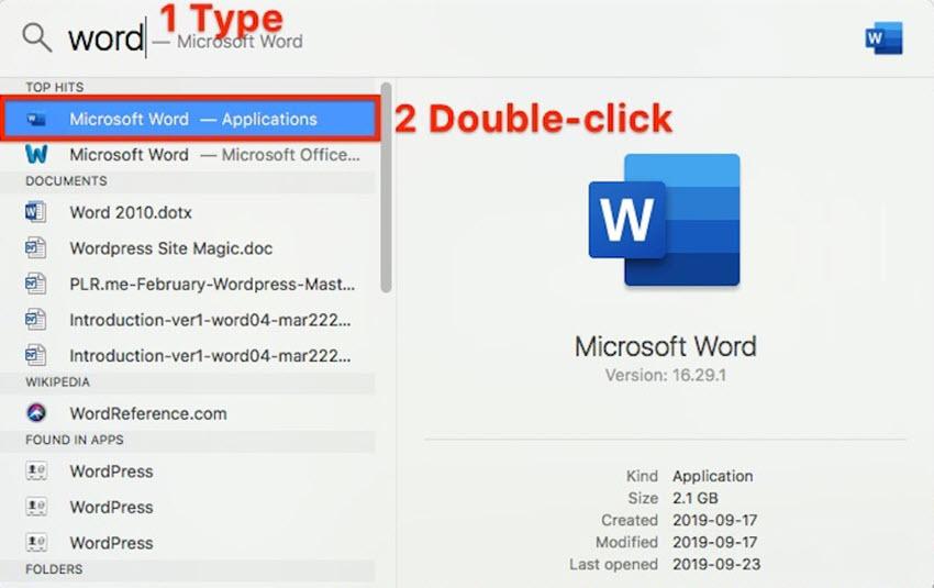 Launch Microsoft Word on Mac Using Spotlight