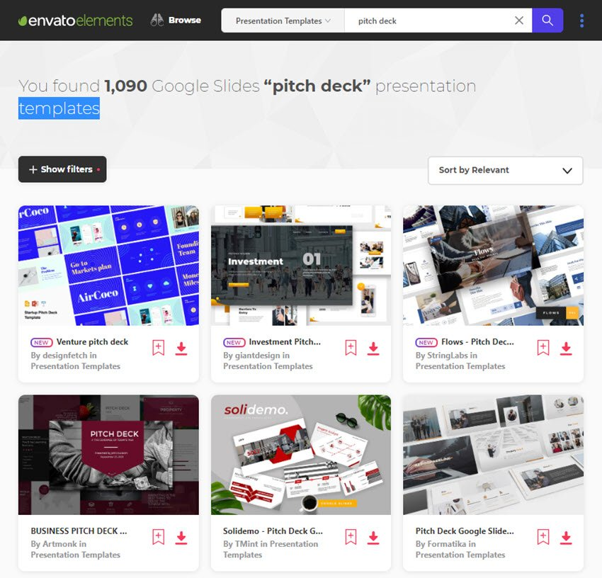 Google Slides pitch deck templates