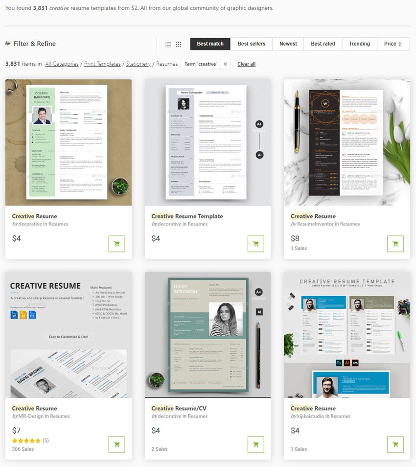 GraphicRiver Creative Resume Templates