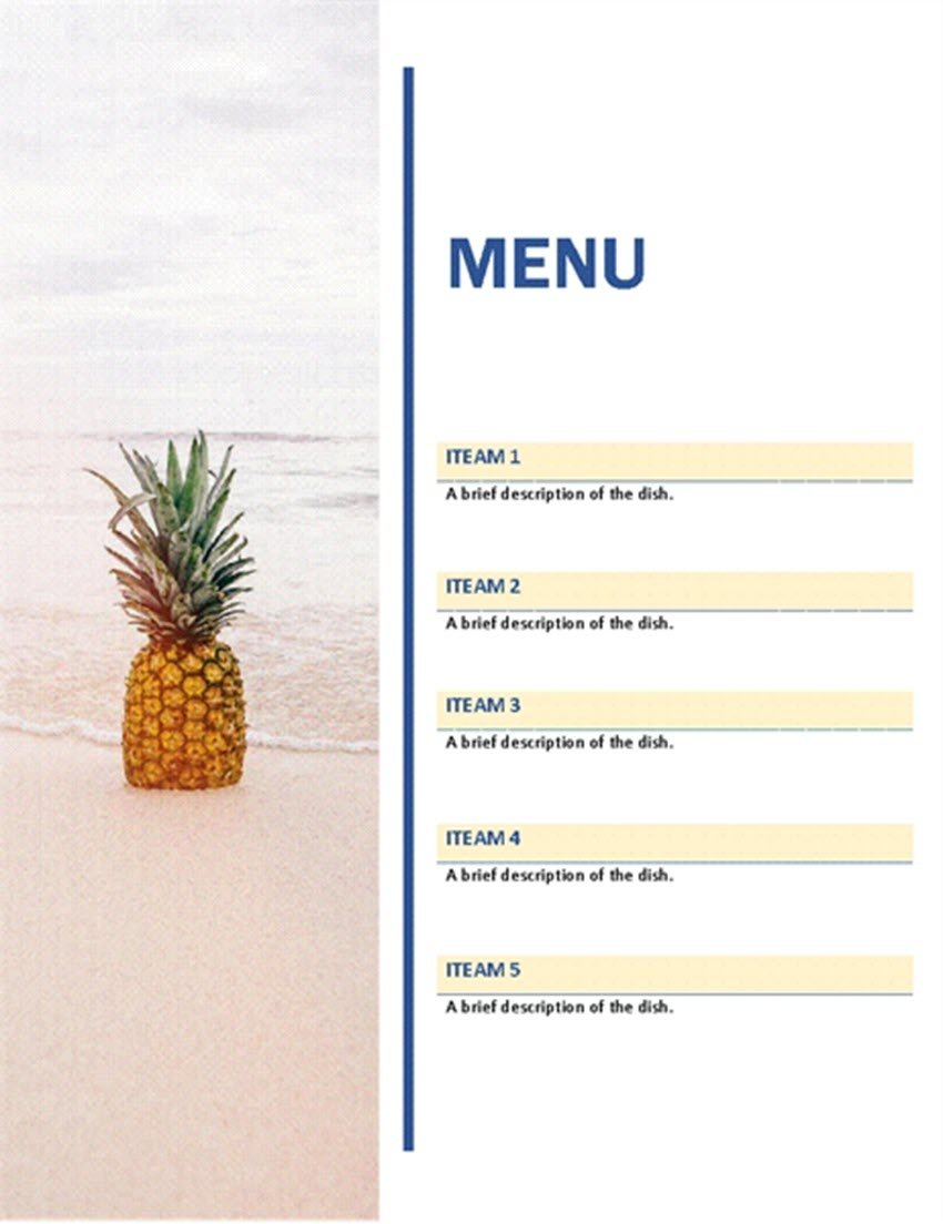 Free Party Menu for Word