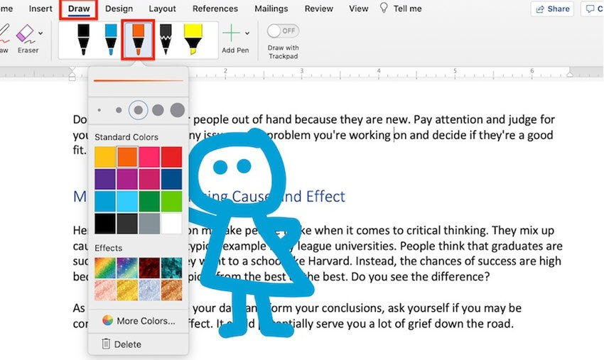 How to Draw in Word - Pen drawing colors
