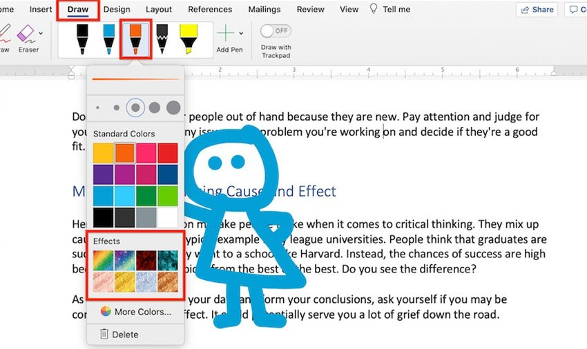 How to Draw in Word - Pen special effects