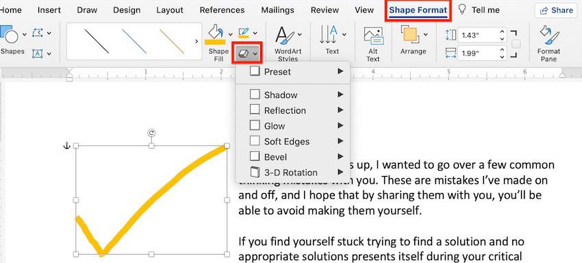 Word drawings - Shape effects