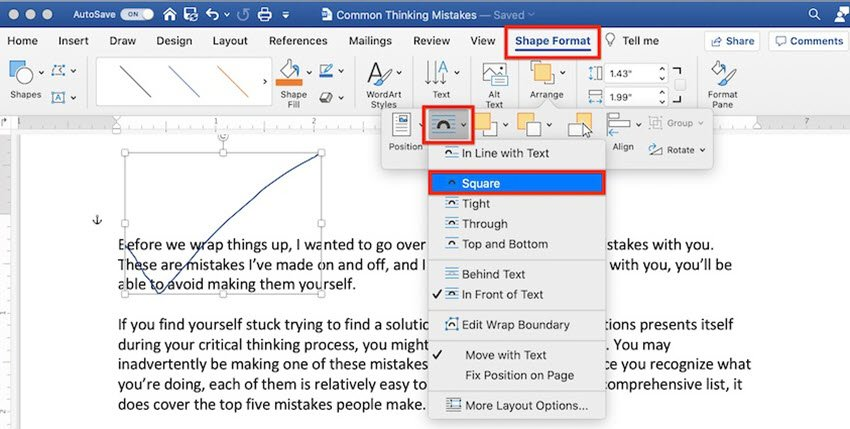 How to draw in Word - Wrap text around a Freeform shape