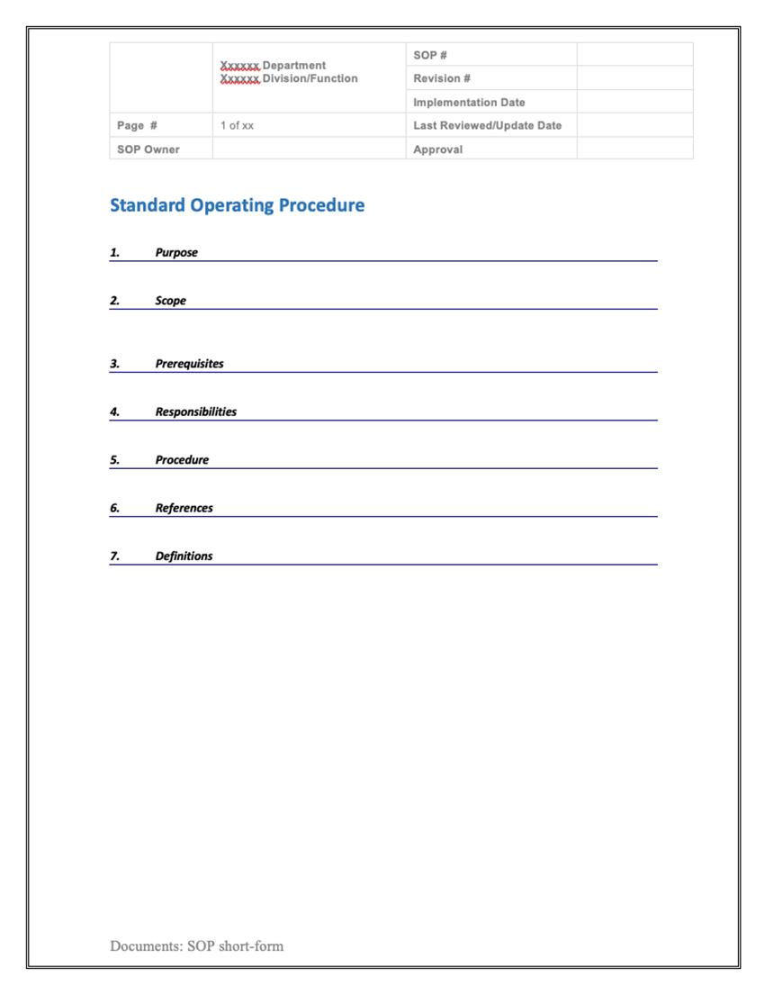 Standard Operating Procedure (SOP) Templates 04