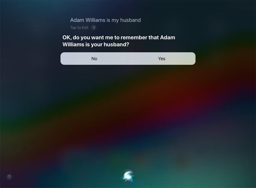 Siri Add a relationship