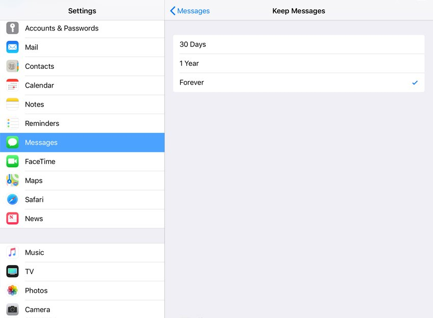 Messages settings