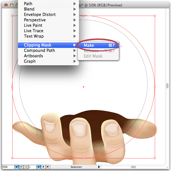 how to make an empty circle with a clipping mask