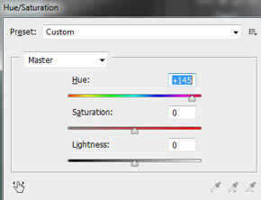 Adjust with hue and saturation