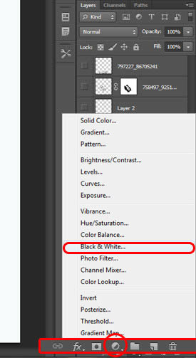 Select the Black and White Adjustment Layer