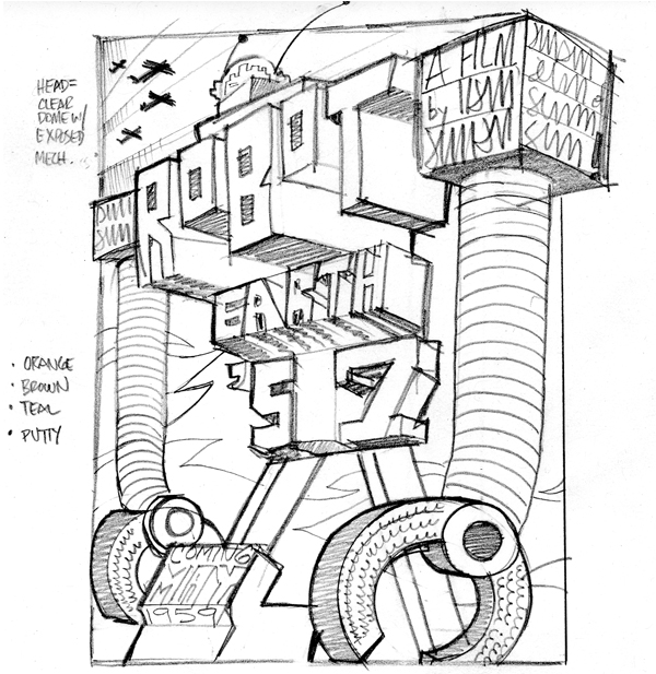 Making of Robot Earth 3009 Typographic Illustration