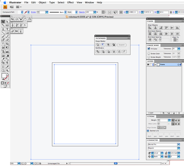 Draw a rectangle the size of the artboard