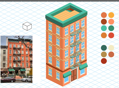 Brick Apartment Building Illustration. Add Color How to Create a Detailed Isometric Building in Adobe Illustrator