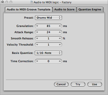 Groove Templates and Quantizing in Logic Pro