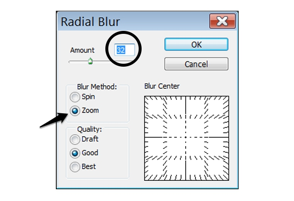 Use the Radial Blur at a relatively low setting set on zoom within the selected area