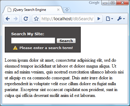 Asynchronous Search With PHP and jQuery