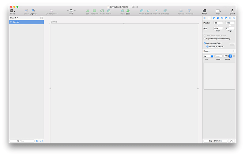 Screenshot of basic artboard in Sketch