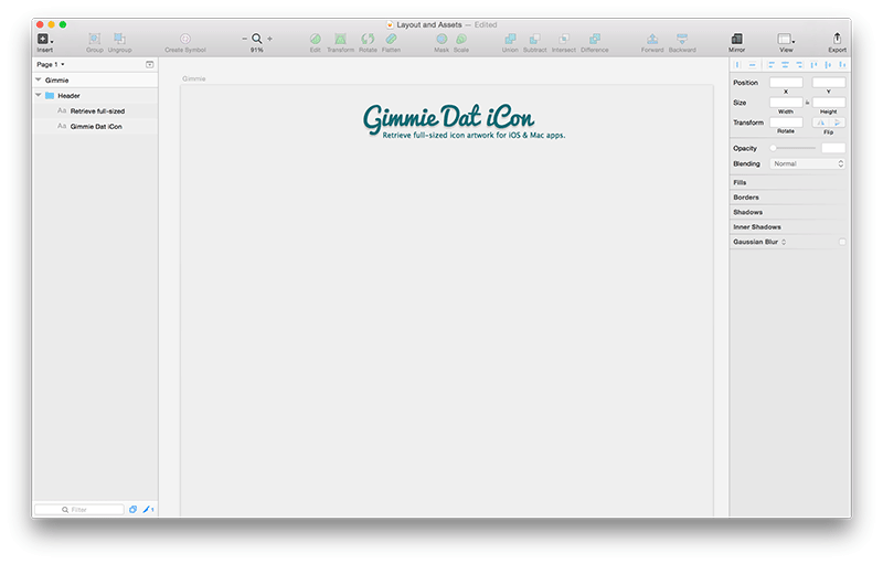 Screenshot of the header component in Sketch