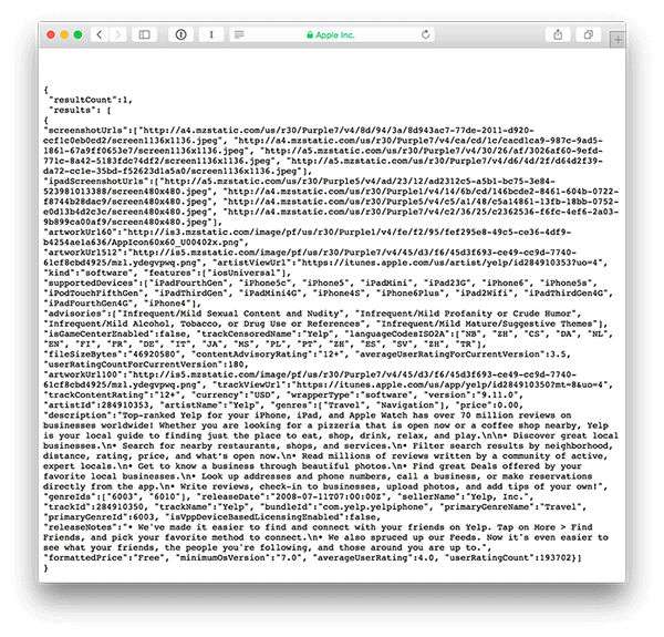 Screenshot of iTunes API response