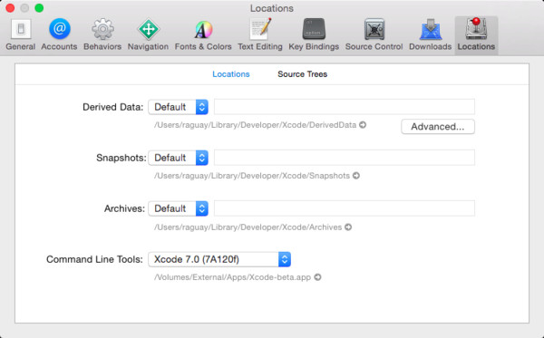 Opening XCode Preferences