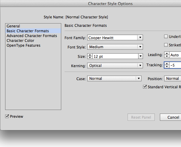 character formats