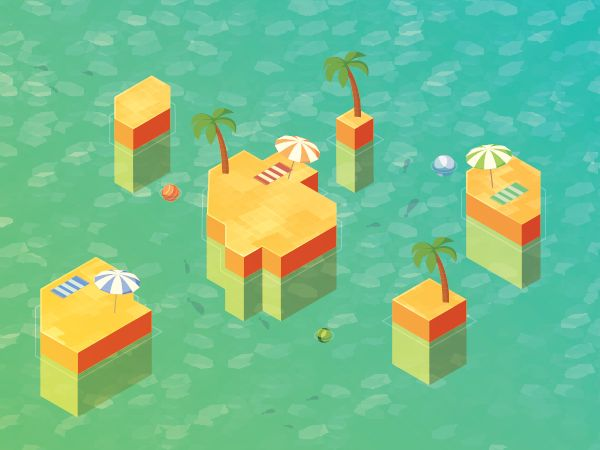 create an isometric vector art island with hexels and illustrator
