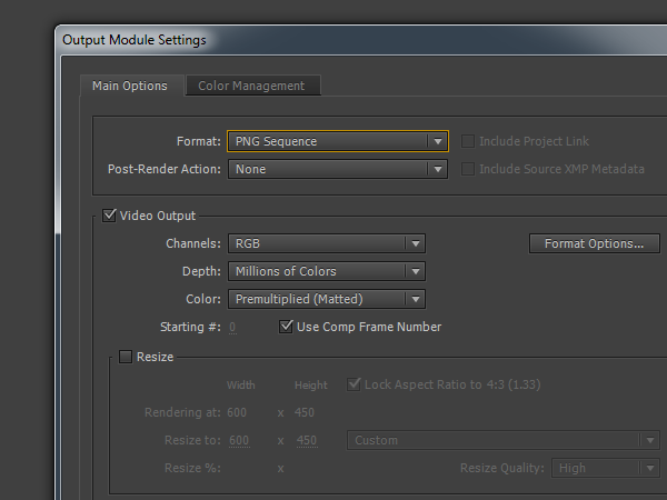 Outpust settings for PNG Sequences