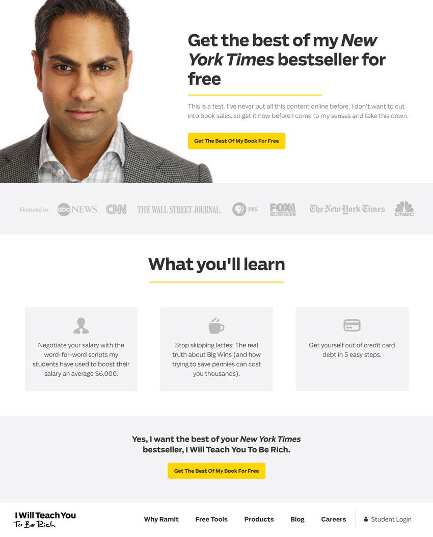 ejemplo de página de aterrizaje de Ramit Sethi