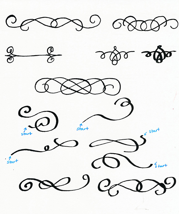 How to draw calligraphy flourishes
