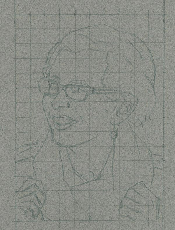 Sketching the portrait in the grid