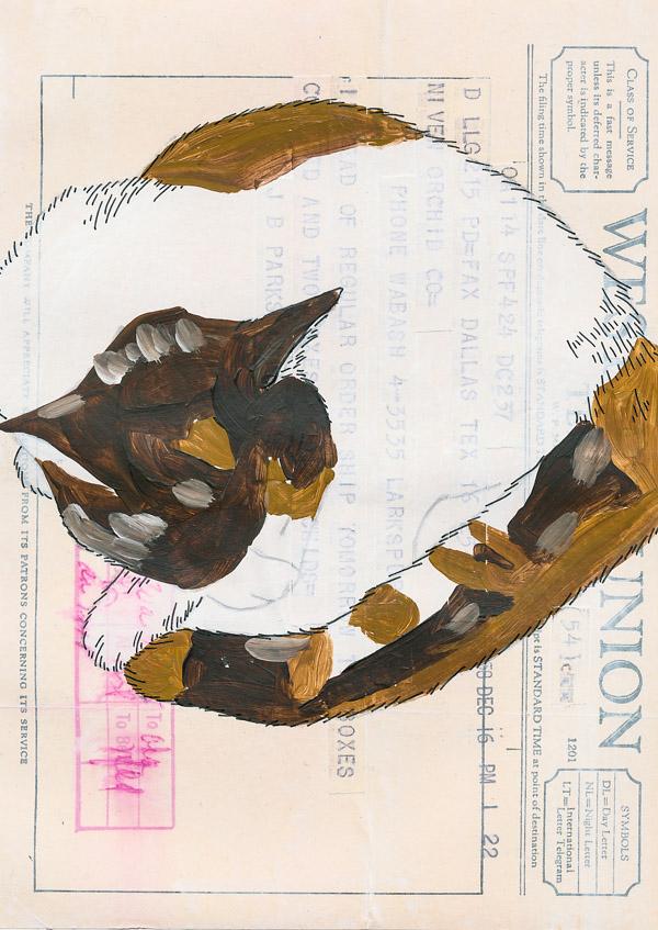 Ephemera Painting - start inking the image