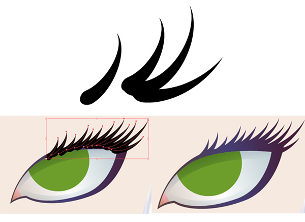 how to draw eyelashes in illustrator