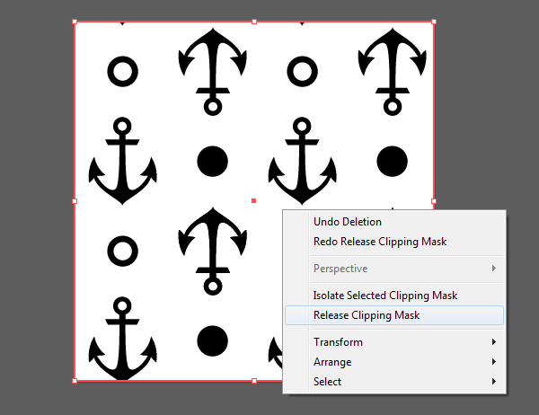 Anchor seamless pattern release clipping mask