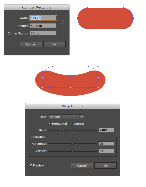 use rounded rectangle tool for the mouth