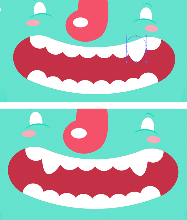 Object  Expand the teeth and make a pair of fangs