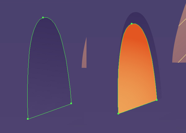 Fill the created shape with linear gradient